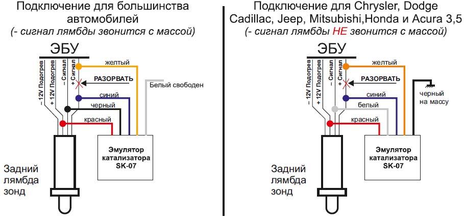 Схема подключения эмулятора катализатора
